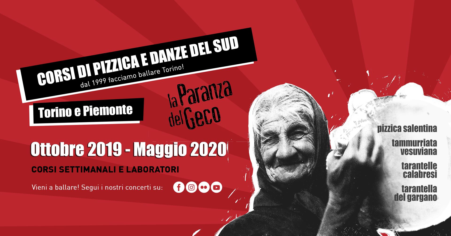 LA PARANZA DEL GECO presenta CORSI DI PIZZICA E DANZE DEL SUD ~ TORINO E PIEMONTE! Corsi settimanali e laboratori, da Ottobre 2019 a Maggio 2020